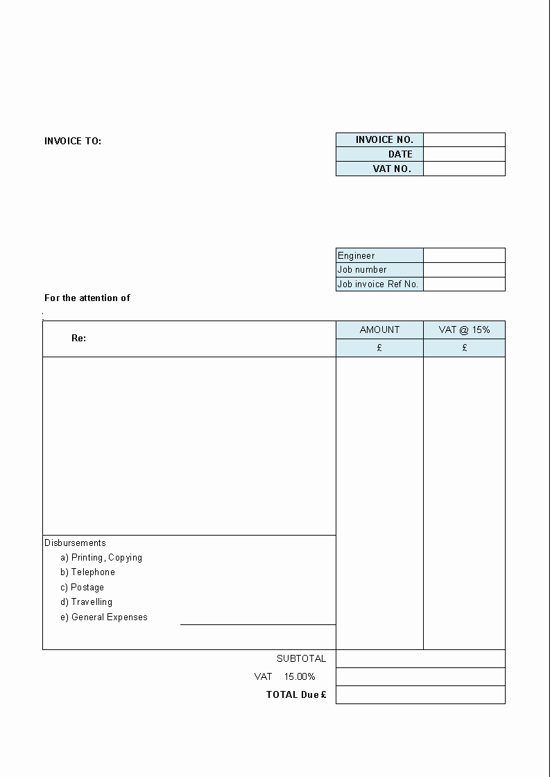 Blank Invoice Template Word Luxury Free Blank Invoice Template for Excel Excel Template