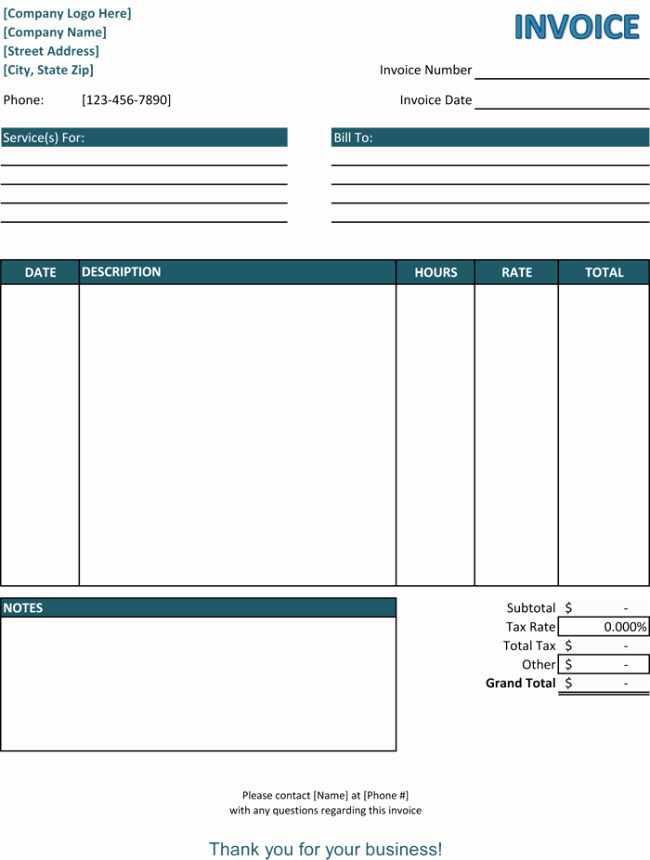 Blank Invoice Template Word Unique 5 Service Invoice Templates for Word and Excel