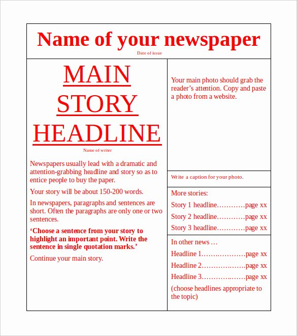 Blank Newspaper Template Microsoft Word New Free Newspaper Template 10 Blank Google Docs Word