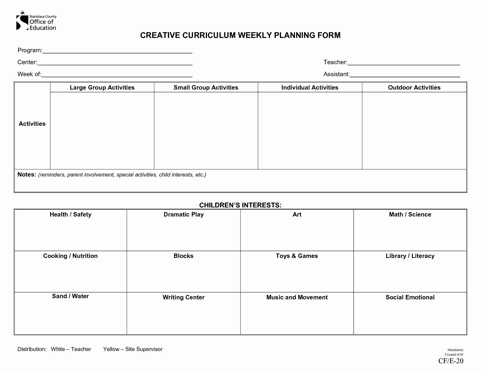 Blank Preschool Lesson Plan Template New Creative Curriculum Blank Lesson Plan