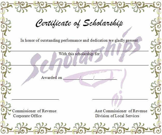 Blank Scholarship Application Template Beautiful Scholarship Certificate Template