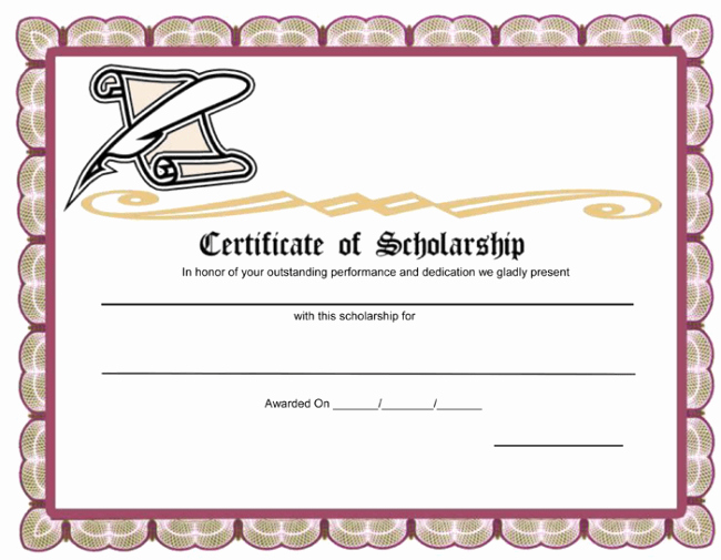 Blank Scholarship Application Template Beautiful Unique Award Template Example for Certificate Of