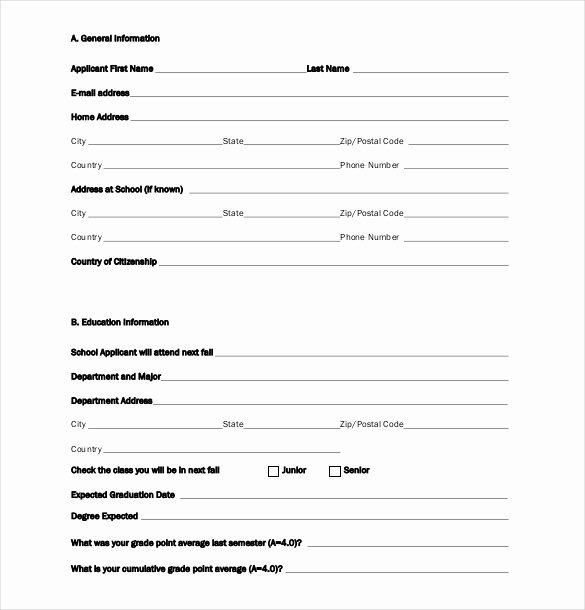 Blank Scholarship Application Template Elegant Scholarship Application Template – 10 Free Word Pdf