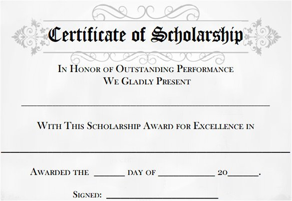 Blank Scholarship Application Template Fresh 11 Scholarship Certificate Templates
