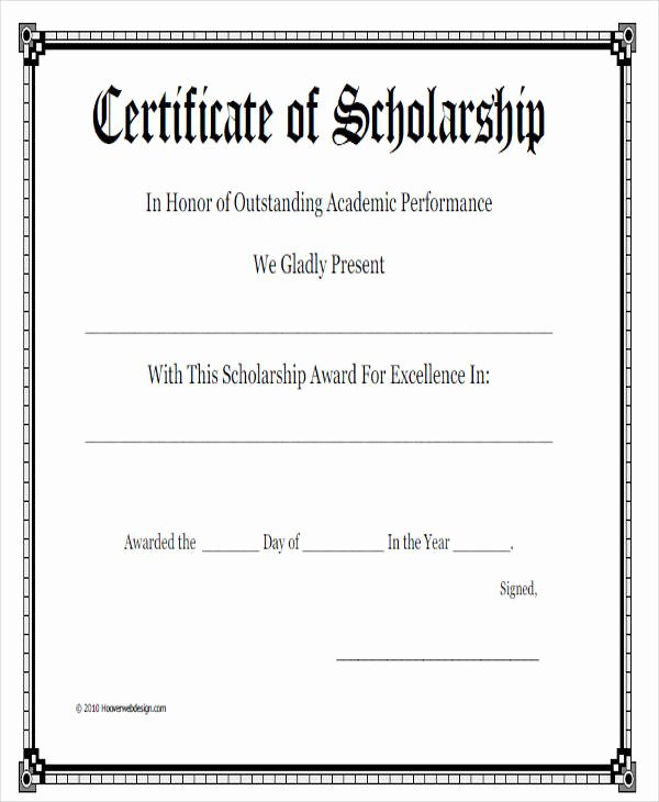 Blank Scholarship Application Template Luxury 23 Blank Award Certificate