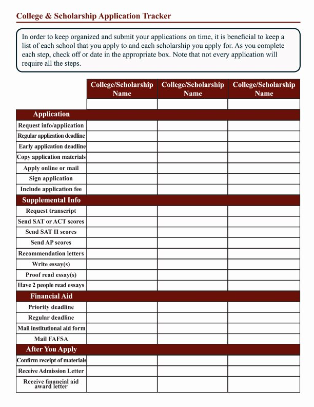 Blank Scholarship Application Template New College and Scholarship Application Tracker Worksheet