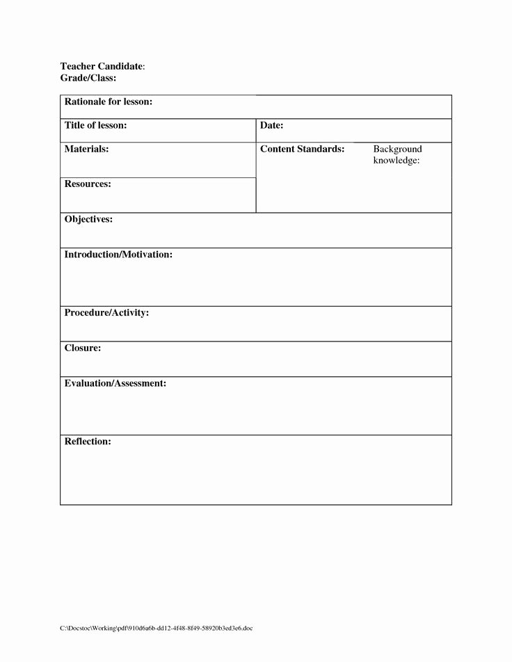 Blank Weekly Lesson Plan Template Fresh Blank Lesson Plan Template