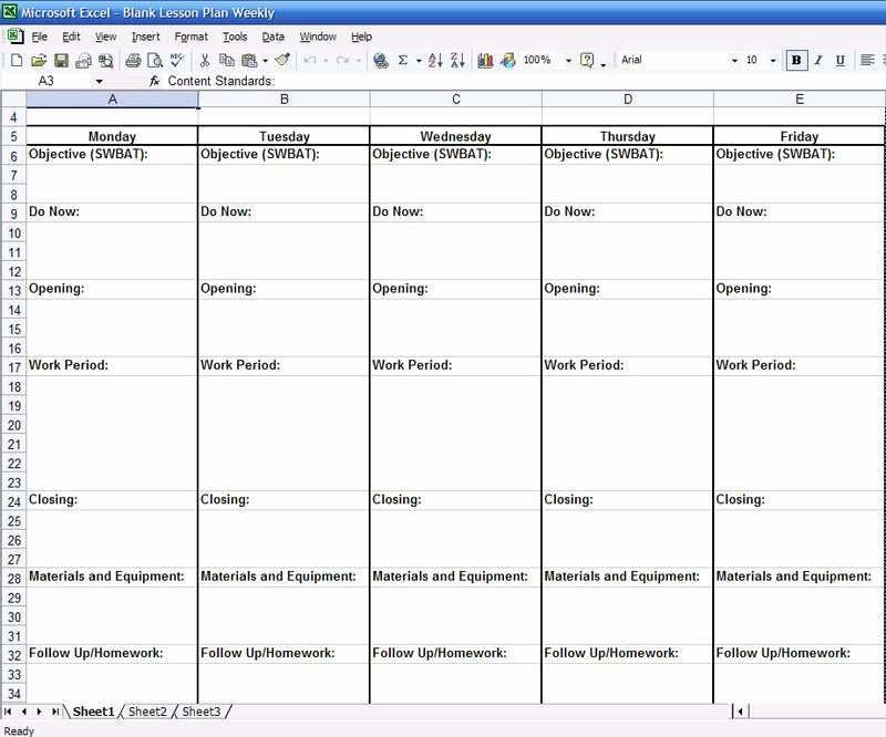 Blank Weekly Lesson Plan Template Fresh Blank Weekly Lesson Plan Templates