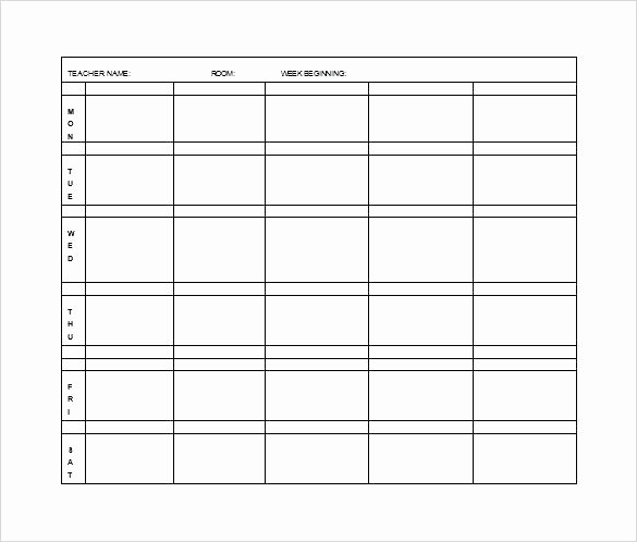 Blank Weekly Lesson Plan Template Inspirational Daily Lesson Plan Template for Elementary Teachers – Blank