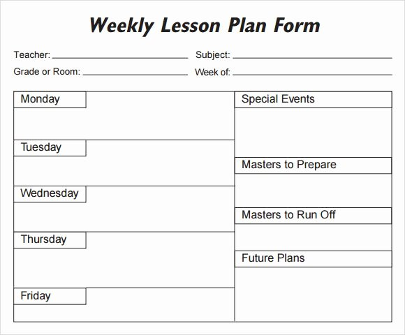 Blank Weekly Lesson Plan Template Luxury Lesson Plan Template 1 organization Pinterest