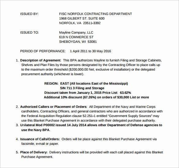 Blanket Purchase Agreement Template Best Of Blanket Purchase Agreement 9 Samples Examples format