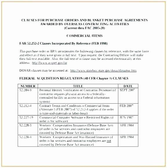 Blanket Purchase Agreement Template Elegant Purchase order Agreement Template Agreements Examples