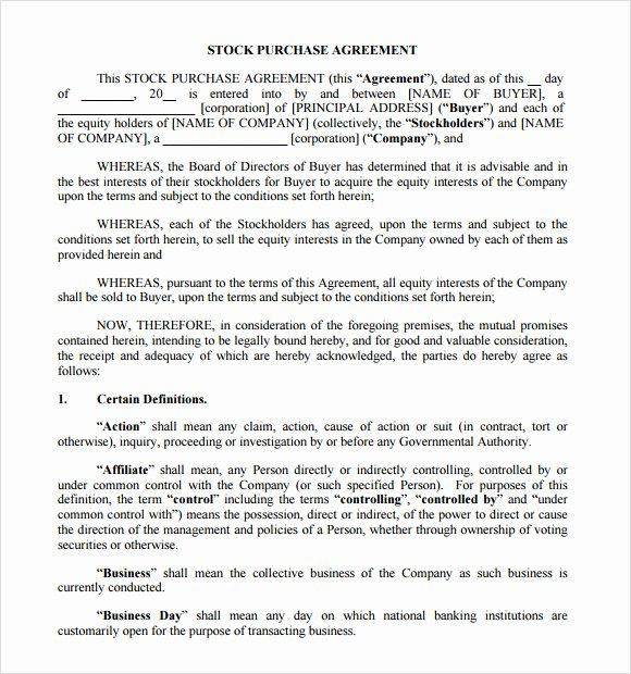 Blanket Purchase Agreement Template Elegant Stock Purchase Agreement 8 Free Samples Examples
