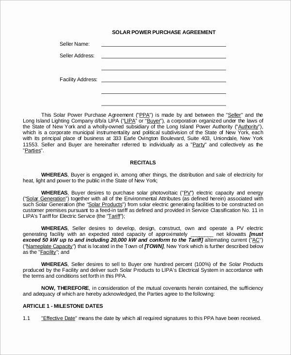 Blanket Purchase Agreement Template Lovely Sample Power Purchase Agreement 10 Examples In Word Pdf