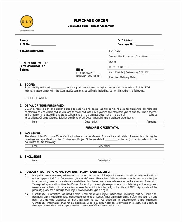 Blanket Purchase Agreement Template Luxury 14 Purchase order Template Docs Word