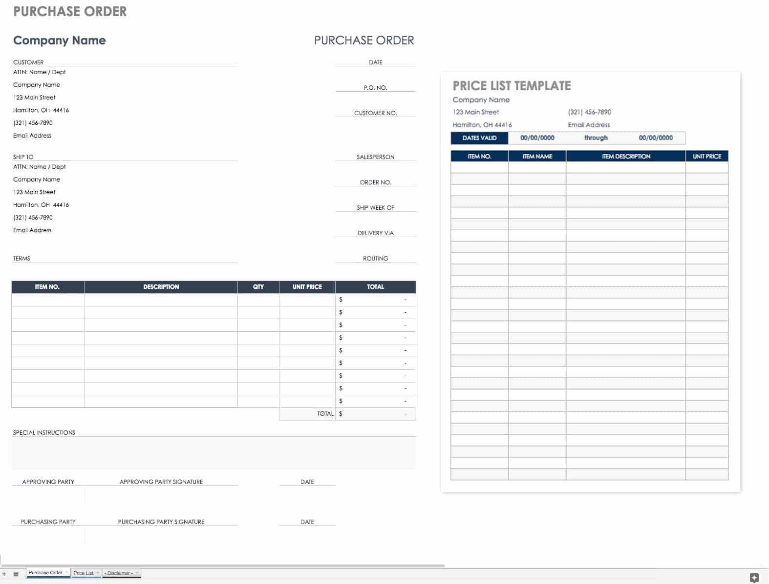 Blanket Purchase Agreement Template New Free Purchase order Templates