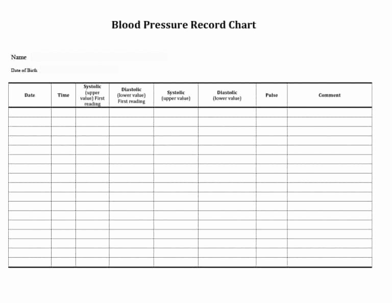 Blood Pressure Charting Template Beautiful Printable Blood Pressure and Pulse Log