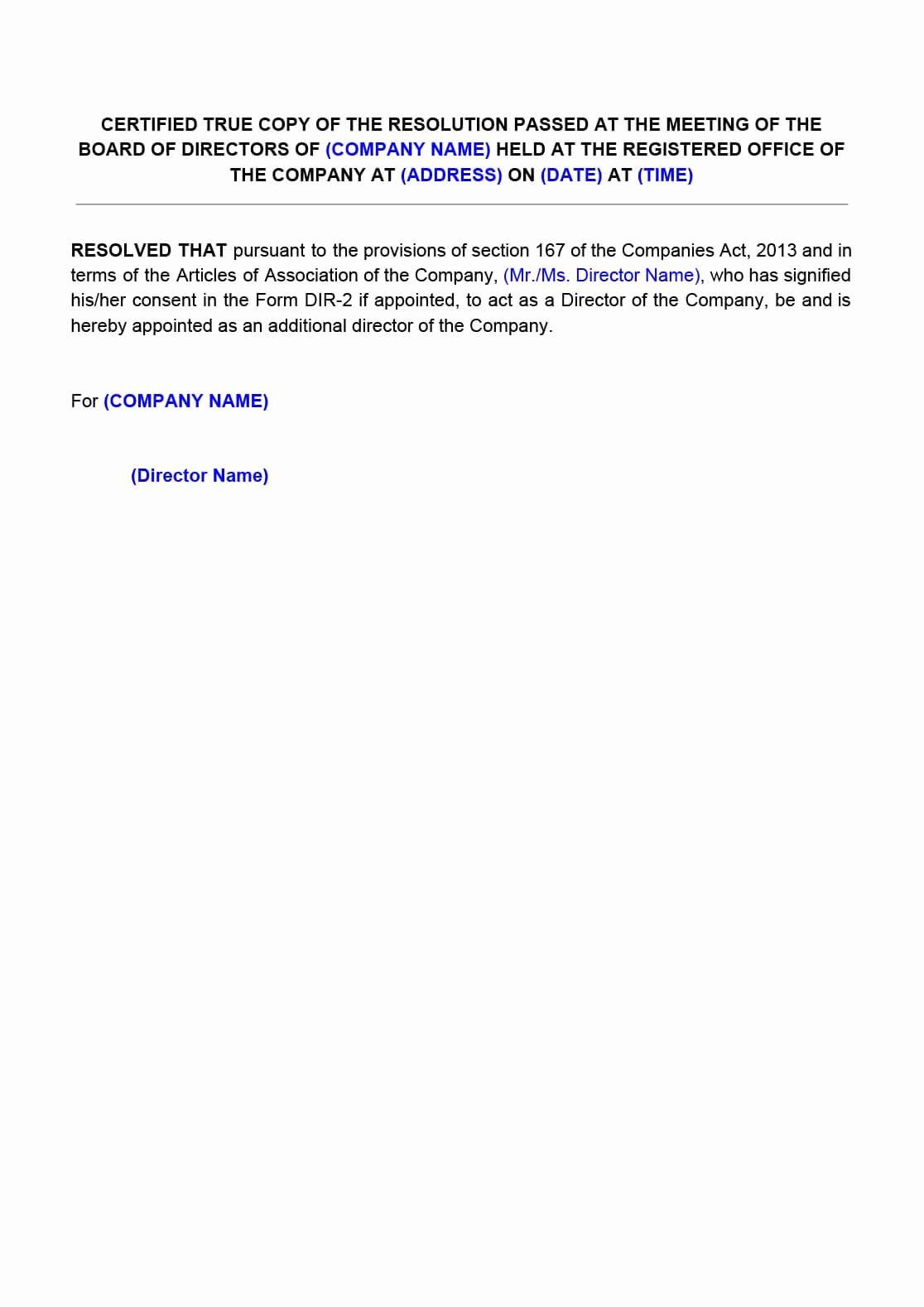 Board Of Directors Resolution Template Beautiful Board Resolution for Appointment Of Director