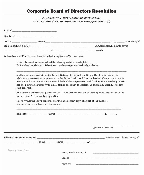Board Of Directors Resolution Template Elegant Corporate Resolution form 7 Free Word Pdf Documents