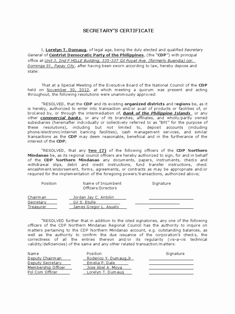 Board Of Directors Resolution Template Fresh Board Resolution or Corporate Secretary S Certificate with