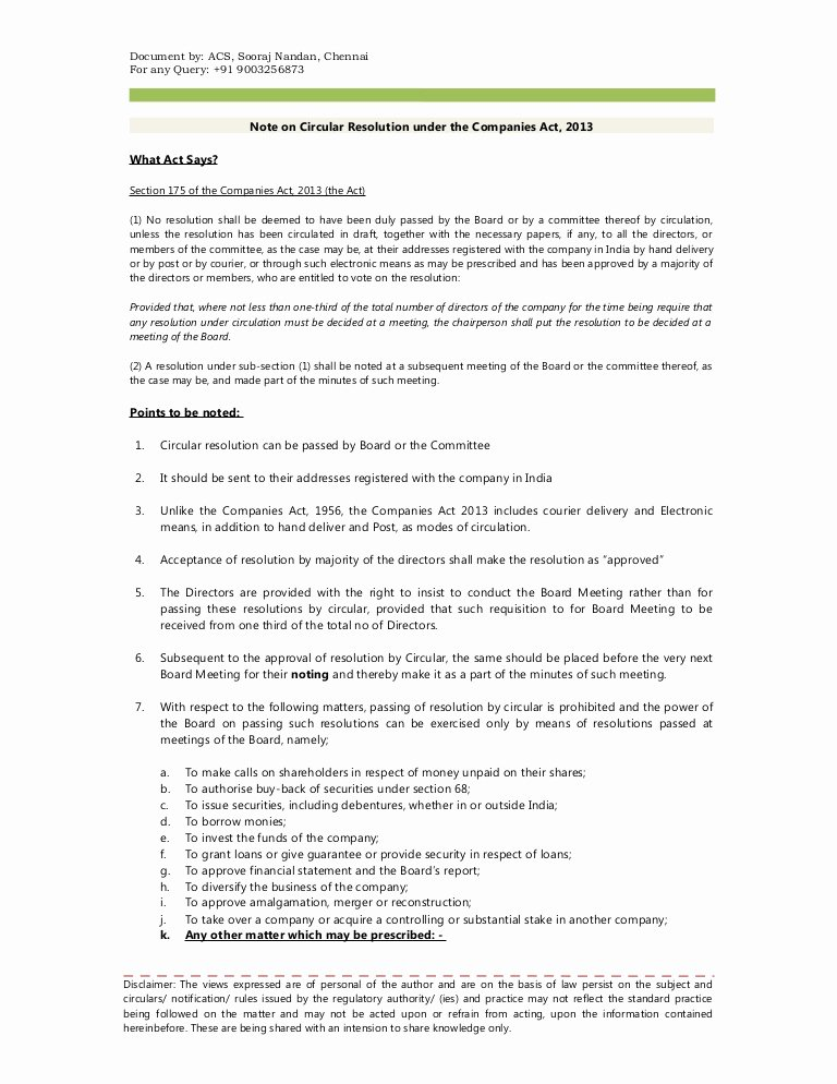 Board Of Directors Resolution Template Fresh Note and format On Circular Resolution Under the Panies