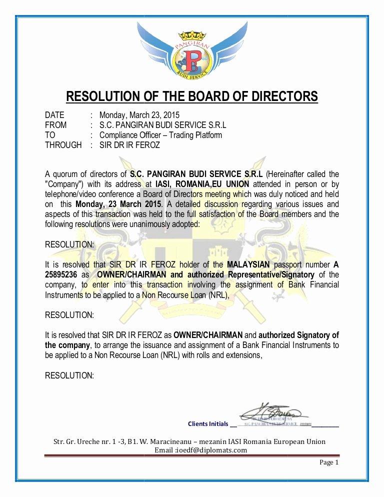 Board Of Directors Resolution Template Fresh Resolution Of the Board Of Directors