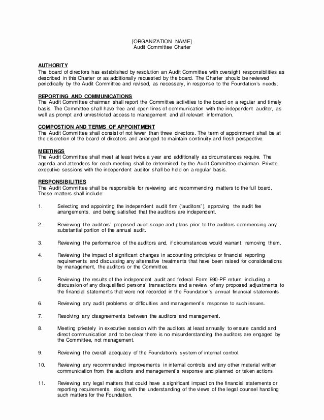 Board Of Directors Resolution Template Inspirational Audit Mmitte Charter Template