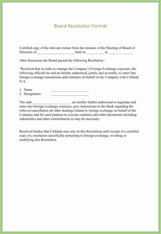 Board Of Directors Resolution Template Luxury Board Resolution Template