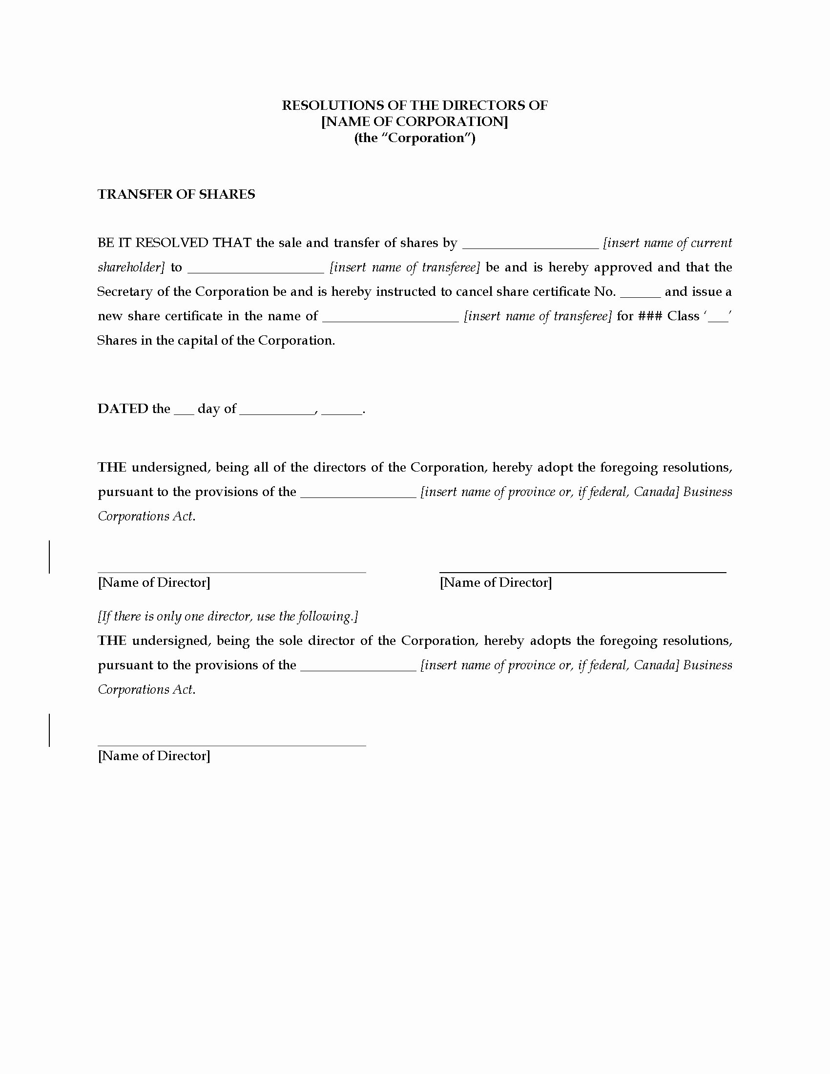 Board Of Directors Resolution Template New Canada Directors Resolution Approving Transfer