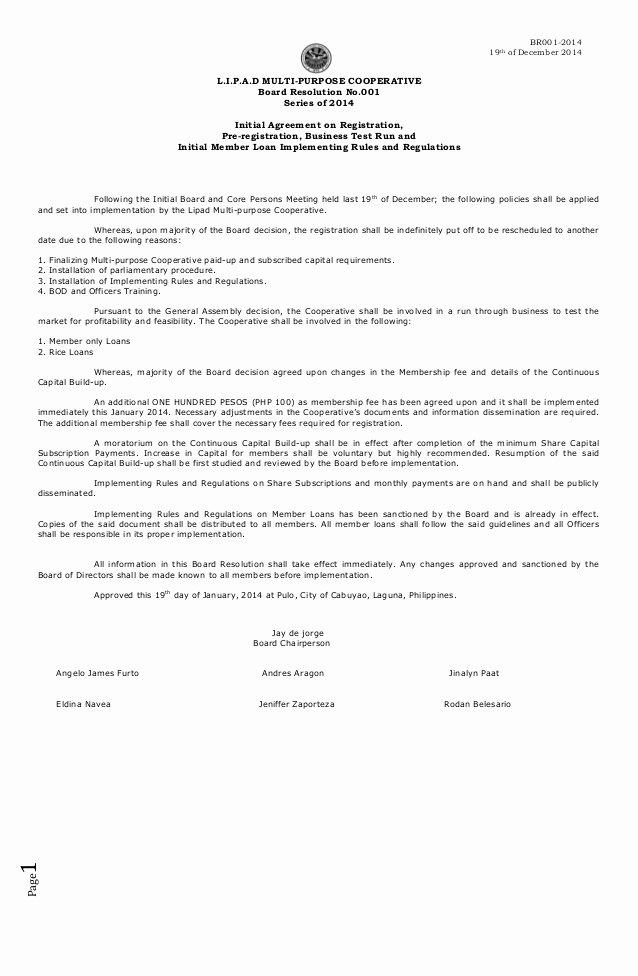 Board Of Directors Resolution Template Unique Board Resolution 2014 001