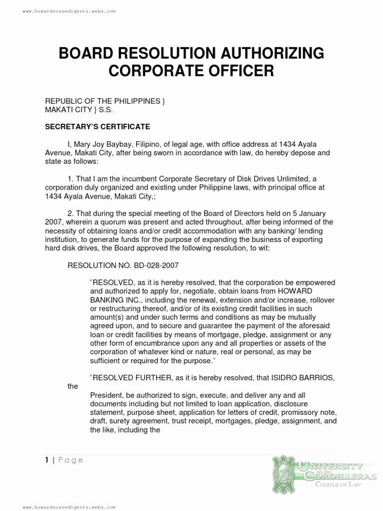 Board Of Directors Resolution Template Unique Board Resolution Authorizing Corporate Ficer