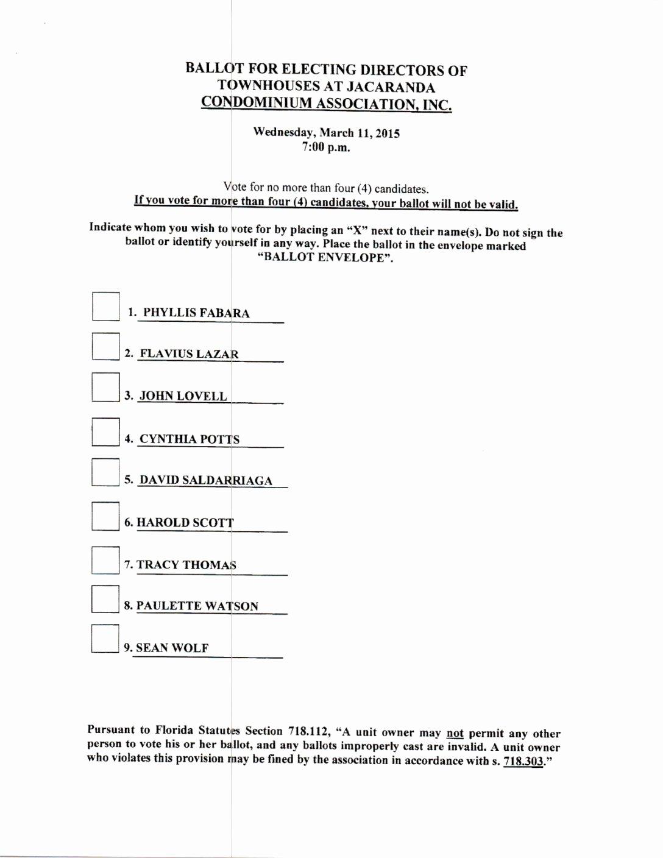 Board Resolution Template Non Profit Beautiful Sample Ballot for Board Directors