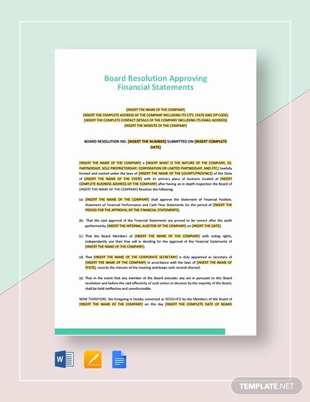 Board Resolution Template Non Profit Fresh Financial Statement Template 12 Free Word Excel Pdf