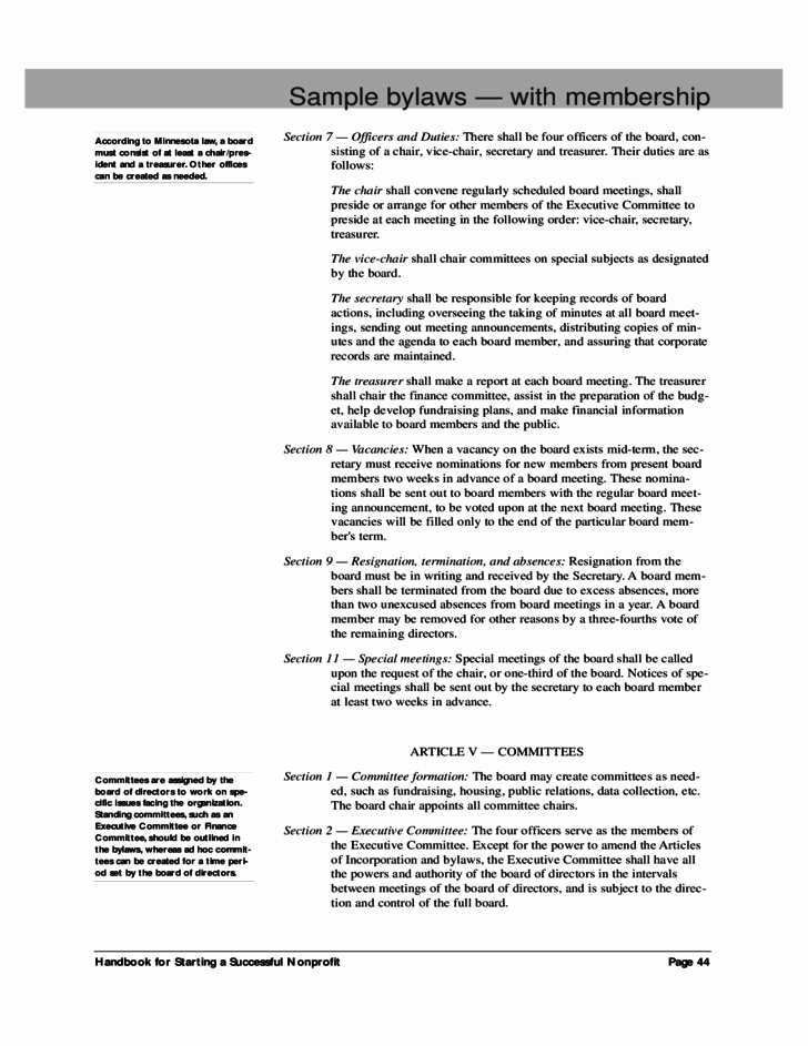 Board Resolution Template Non Profit Fresh Sample bylaws with Membership Free Download