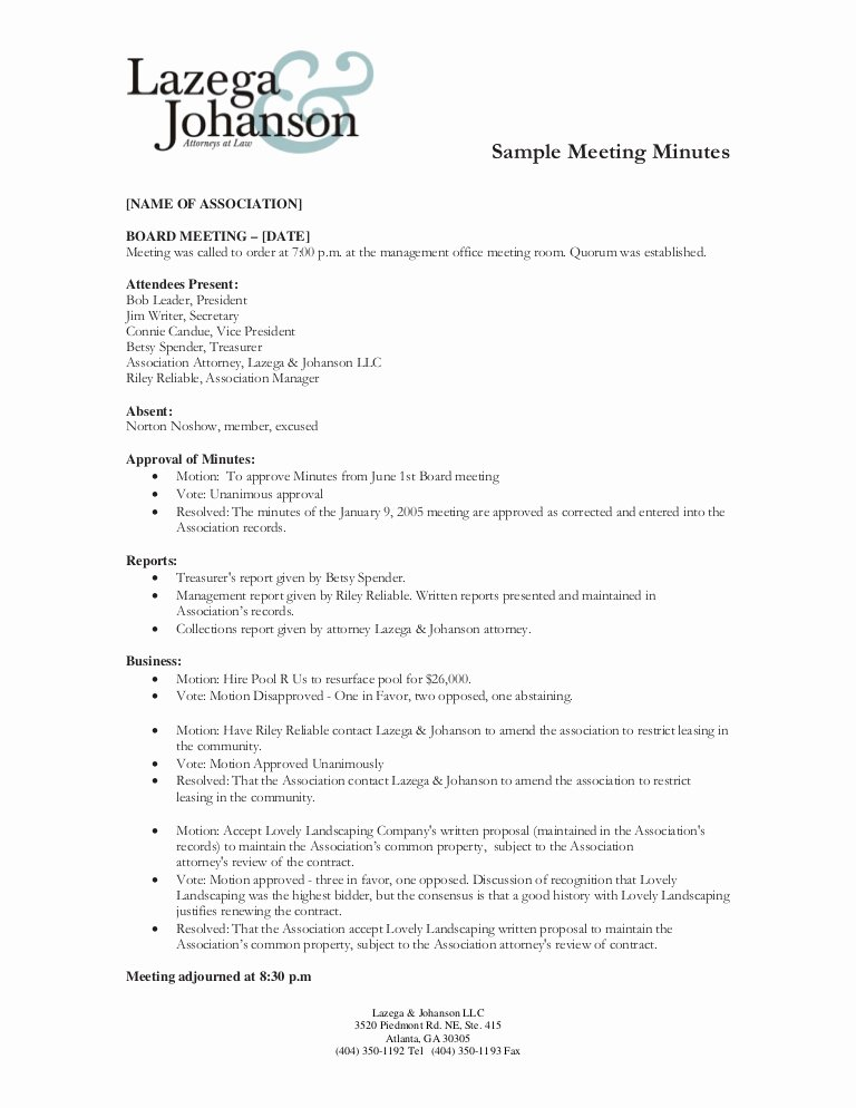 Board Resolution Template Non Profit Fresh Sample Of Minutes Of Meeting