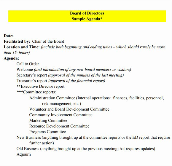 Board Resolution Template Non Profit Lovely Board Meeting Agenda 9 Free Samples Examples format