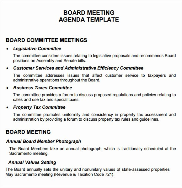 Board Resolution Template Non Profit Lovely Free 11 Board Meeting Agenda Templates In Free Samples
