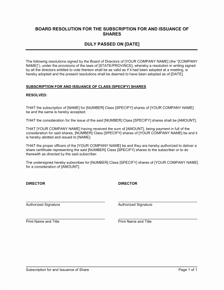 Board Resolution Template Non Profit New 27 Of Meeting and issue Resolution Template