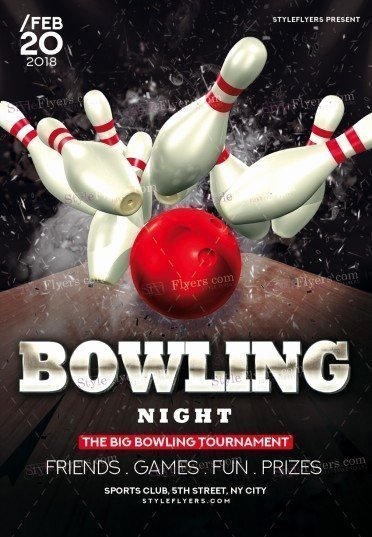 Bowling Flyer Template Free Elegant Bowling Psd Flyer Template Styleflyers