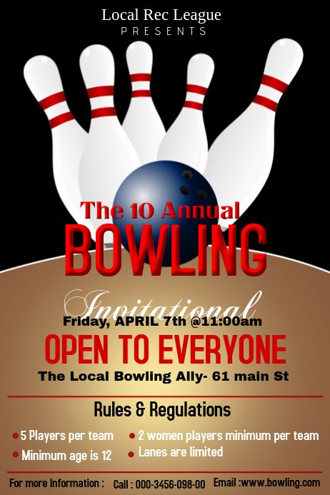 Bowling Flyer Template Free Inspirational Bowling Poster Template