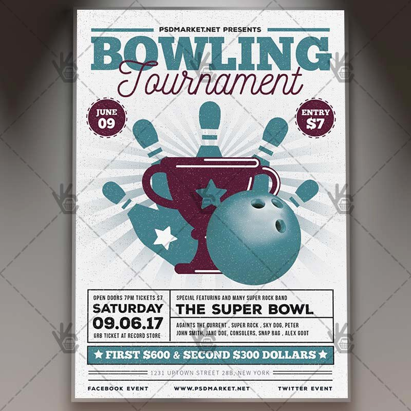 Bowling Flyer Template Free New Vintage Bowling Premium Flyer Psd Template