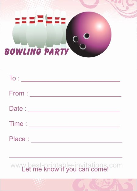 Bowling Invitation Template Free Awesome Bowling Birthday Party Invitations