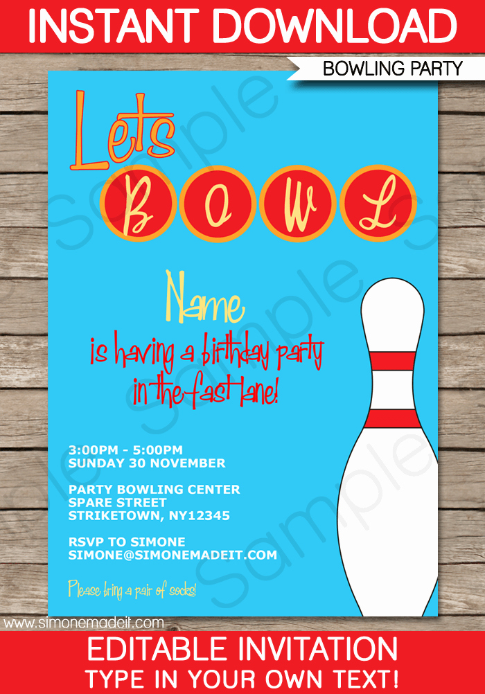 Bowling Invitation Template Free Beautiful Free Bowling Party Invitation Printable
