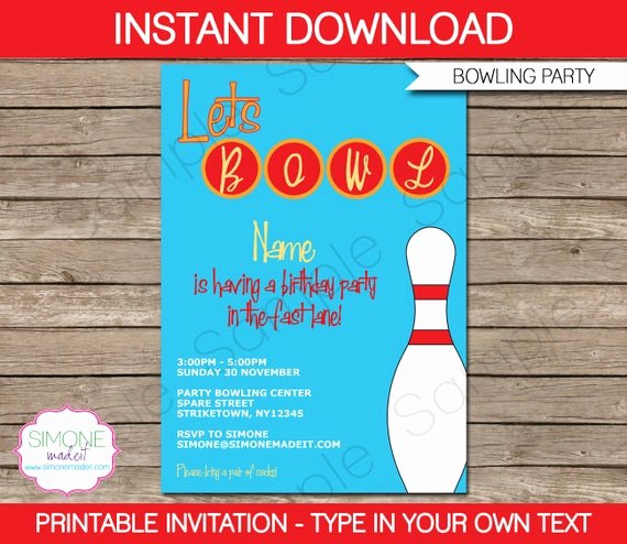 bowling invitation template birthday