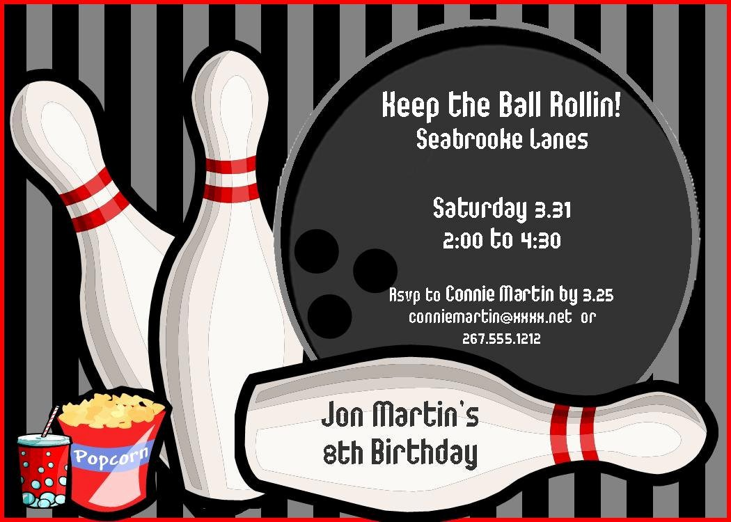 Bowling Invitation Template Free New Bowling Birthday Party Invitations Free Templates