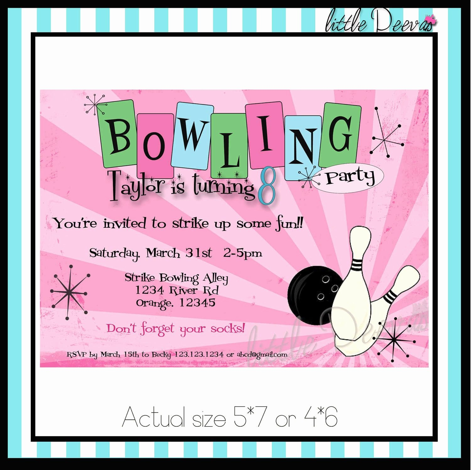 Bowling Party Invitations Templates Beautiful Free Printable Kids Bowling Party Invitations Download Get