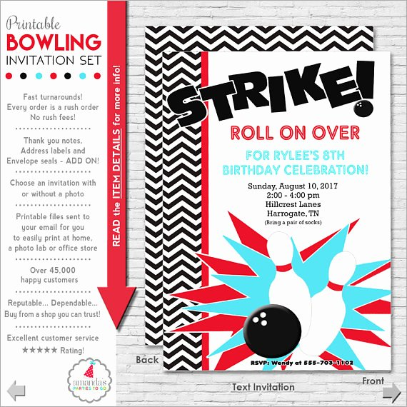Bowling Party Invitations Templates Fresh Bowling Party Invitation Bowling Birthday Invitation