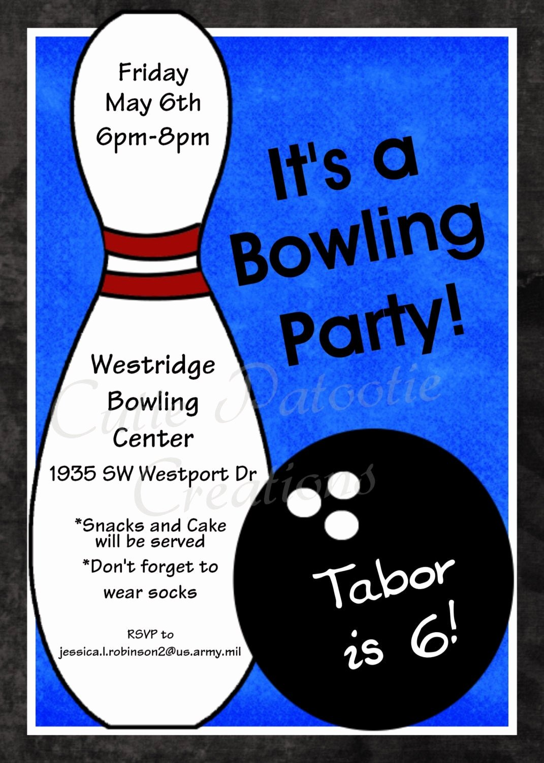 Bowling Party Invitations Templates Lovely Bowling Birthday Invitation Printable or Printed Party Invite