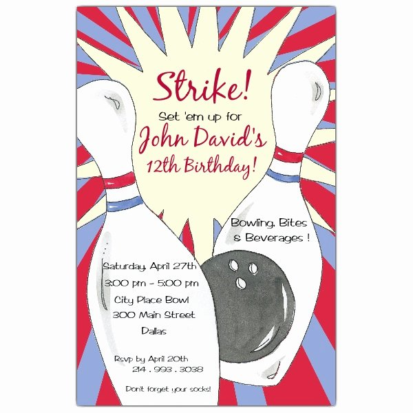 Bowling Party Invitations Templates Lovely Bowling Birthday Party Invitations
