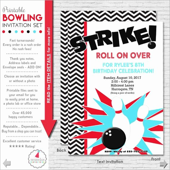 Bowling Party Invitations Templates Lovely Bowling Party Invitation Bowling Birthday Invitation
